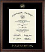 West Virginia University Diploma Frame - Gold Embossed Diploma Frame in Studio