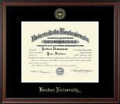 Boston University Diploma Frame - Gold Embossed Diploma Frame in Studio