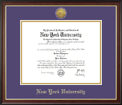 New York University Diploma Frame - Gold Engraved Medallion Diploma Frame in Studio Gold