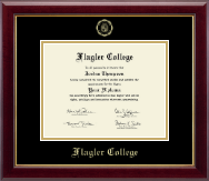 Flagler College Diploma Frame - Gold Embossed Diploma Frame in Gallery