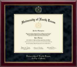 University of North Texas Diploma Frame - Gold Embossed Diploma Frame in Gallery