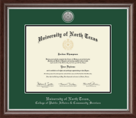 University of North Texas Diploma Frame - Silver Engraved Medallion Diploma Frame in Devonshire