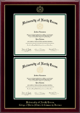 University of North Texas Diploma Frame - Double Diploma Frame in Gallery