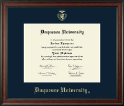 Duquesne University Diploma Frame - Gold Embossed Diploma Frame in Studio