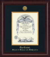 The Citadel The Military College of South Carolina Diploma Frame - Presidential Gold Engraved Diploma Frame in Premier