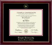 Temple University Law School Diploma Frame - Gold Embossed Law Diploma Frame in Gallery