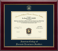 American College of Forensic Examiners Institute Certificate Frame - Gold Embossed Certificate Frame in Gallery