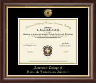 American College of Forensic Examiners Institute Certificate Frame - Gold Engraved Medallion Certificate Frame in Hampshire
