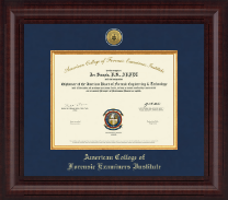 American College of Forensic Examiners Institute Certificate Frame - Presidential Gold Engraved Certificate Frame in Premier