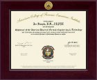 American College of Forensic Examiners Institute Certificate Frame - Century Gold Engraved Certificate Frame in Cordova