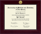 University of Medicine and Dentistry of New Jersey Diploma Frame - Century Gold Engraved Diploma Frame in Cordova