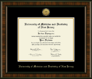University of Medicine and Dentistry of New Jersey Diploma Frame - Gold Engraved Medallion Diploma Frame in Brentwood
