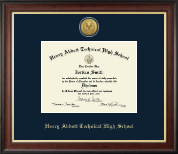 Henry Abbott Tecnhical High School Diploma Frame - Gold Engraved Medallion Diploma Frame in Studio Gold
