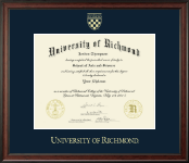 University of Richmond Diploma Frame - Gold Embossed Diploma Frame in Studio