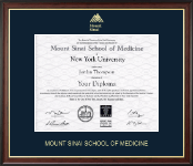 Mount Sinai School of Medicine Diploma Frame - Gold Embossed Diploma Frame in Studio Gold