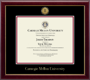 Carnegie Mellon University Diploma Frame - Gold Engraved Medallion Diploma Frame in Gallery