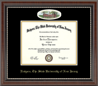 Rutgers University Diploma Frame - Campus Cameo Diploma Frame in Chateau