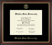 Wichita State University Diploma Frame - Gold Embossed Diploma Frame in Studio Gold