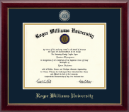 Roger Williams University Diploma Frame - Masterpiece Medallion Diploma Frame in Gallery