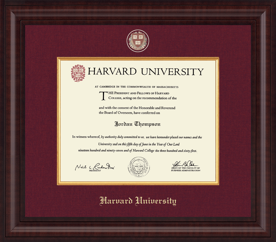 Harvard University Presidential Masterpiece Diploma Frame