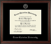 Texas Christian University Diploma Frame - Silver Embossed Diploma Frame in Studio