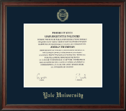 Yale University Diploma Frame - Gold Embossed Diploma Frame in Studio