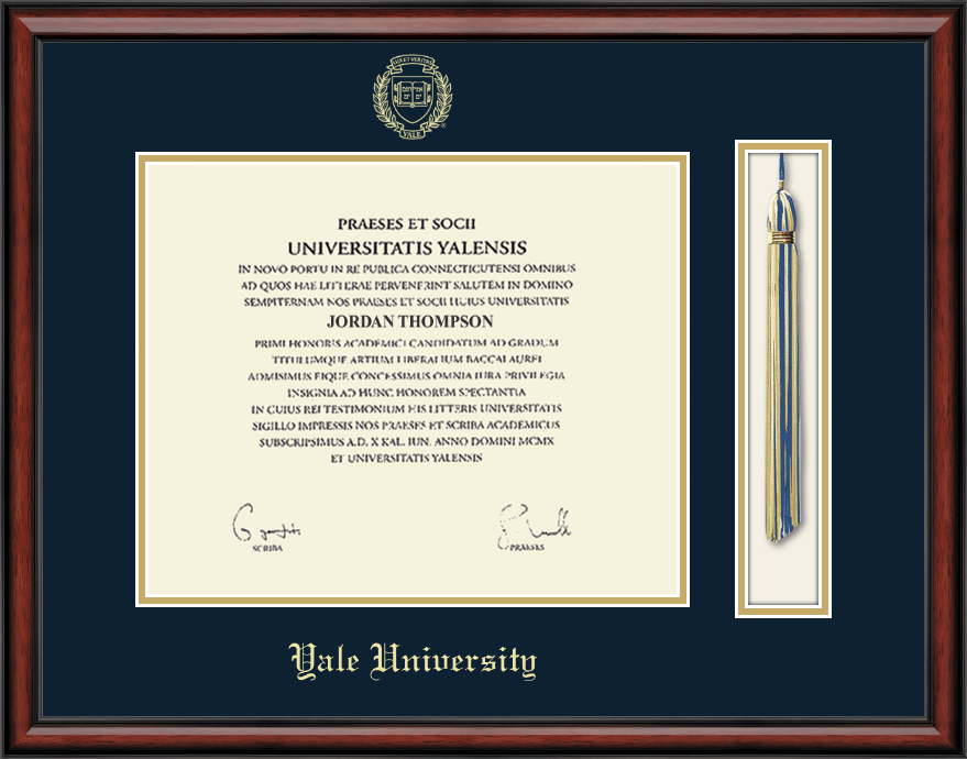 yale university tassel edition diploma frame in southport