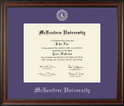 McKendree University Diploma Frame - Silver Embossed Diploma Frame in Studio