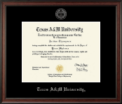 Texas A&M University Diploma Frame - Silver Embossed Diploma Frame in Studio