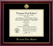 Vermont Law School Diploma Frame - Gold Engraved Medallion Diploma Frame in Gallery