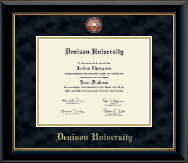 Denison University  Diploma Frame - Masterpiece Medallion Diploma Frame in Onyx Gold