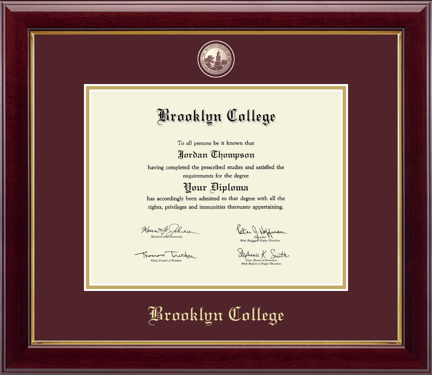 brooklyn college masterpiece medallion diploma frame in gallery item 229218