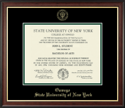 State University of New York at Oswego Diploma Frame - Gold Embossed Diploma Frame in Studio Gold