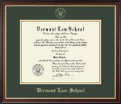 Vermont Law School Diploma Frame - Gold Embossed Diploma Frame in Studio Gold