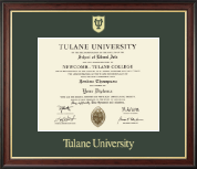 Tulane University Diploma Frame - Gold Embossed Diploma Frame in Studio Gold