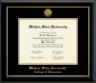 Wichita State University Diploma Frame - Gold Engraved Medallion Diploma Frame in Onyx Gold