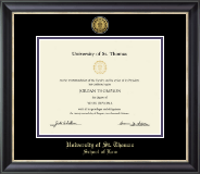 University of St. Thomas Diploma Frame - Gold Engraved Medallion Diploma Frame in Noir