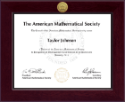 American Mathematical Society Certificate Frame - Century Gold Engraved Certificate Frame in Cordova