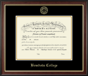 Bowdoin College Diploma Frame - Gold Embossed Diploma Frame in Studio Gold