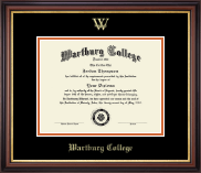 Wartburg College Diploma Frame - Gold Embossed Diploma Frame in Regency Gold