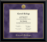 Carroll College at Montana Diploma Frame - Gold Engraved Medallion Diploma Frame in Onyx Gold