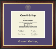 Carroll College at Montana Diploma Frame - Gold Embossed Diploma Frame in Studio Gold