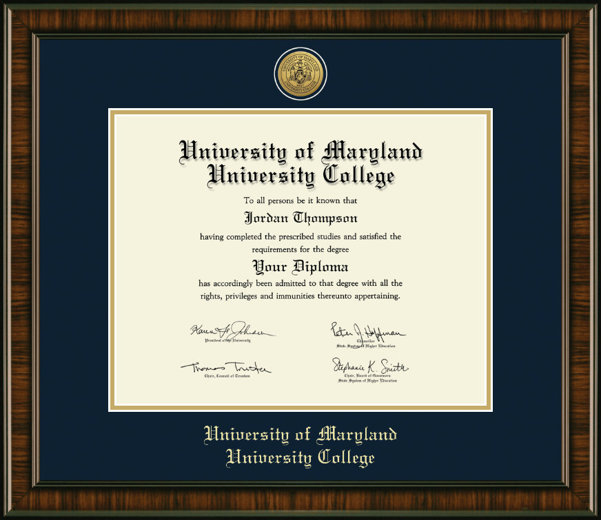 university of maryland university college gold engraved medallion diploma frame in brentwood item 230576