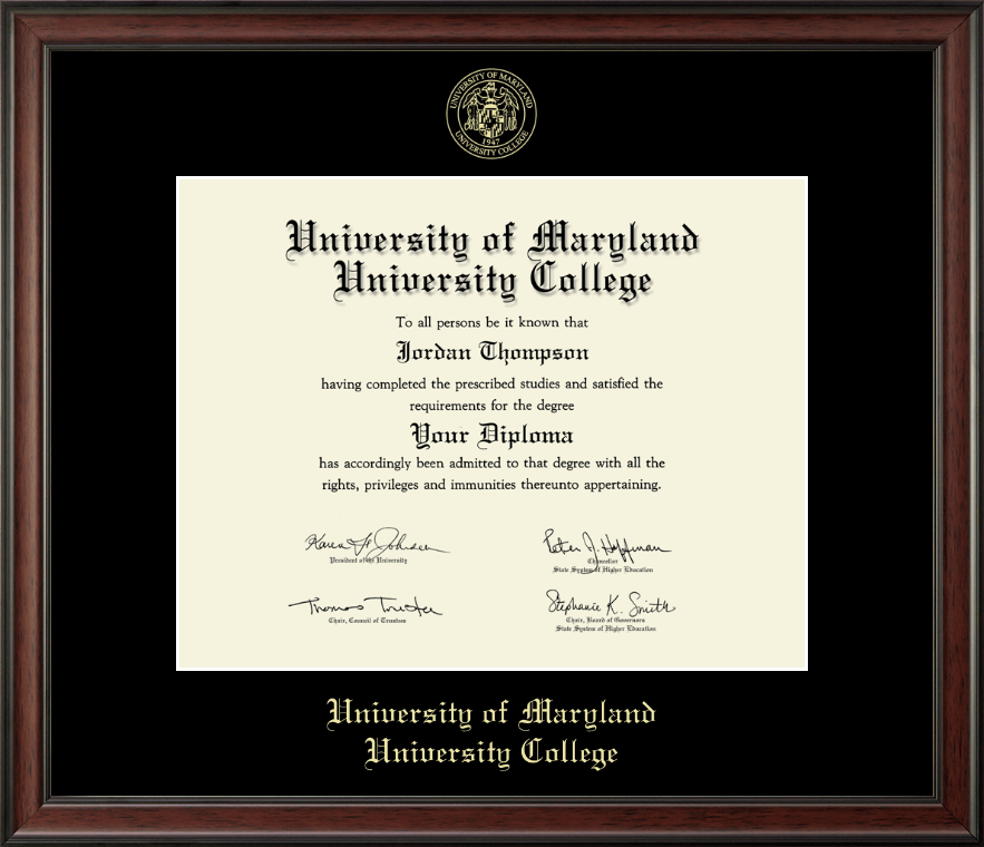 University Of Maryland University College Gold Embossed