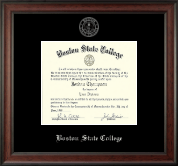 Boston State College Diploma Frame - Silver Embossed Diploma Frame in Studio