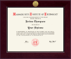 Massachusetts Institute of Technology Diploma Frame - Century Gold Engraved Diploma Frame in Cordova