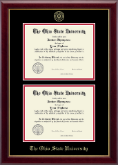 The Ohio State University Diploma Frame - Gold Embossed Double Diploma Frame in Gallery