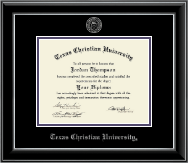 Texas Christian University Diploma Frame - Silver Embossed Diploma Frame in Onyx Silver