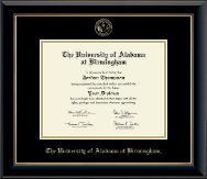 The University of Alabama at Birmingham Diploma Frame - Gold Embossed Diploma Frame in Onyx Gold