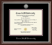 Texas A&M University Diploma Frame - Silver Engraved Medallion Diploma Frame in Devonshire